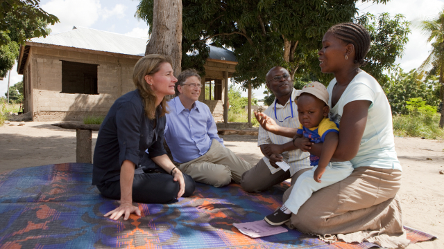 Bill and Melinda Gates with Mwajua Saidi in Mapinga, Tanzania on June 28, 2011.