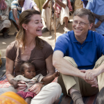 Bill and Melinda Gates meet with women in Jamsaut village in Bihar, India, on March 23, 2011.
